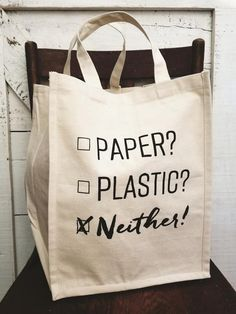 Every time my roommates and I go grocery shopping, we take our own reusable grocery bags to take our groceries home in rather than wasting so many plastic bags that will only go to waste. Reusable Shopping Bags, Reusable Tote Bags, Diy Tote Bag, No Plastic, Plastic Bags, Cute Purses, Cloth Bags, Goody Bags, Jute