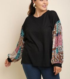 UMGEE Mauve Floral Print Puff Sleeve Waffle Knit Dress SML /& Plus Size XL 1X 2X