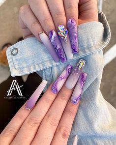 Purple Acrylic Nails, Best Acrylic Nails, Purple Nails, Aycrlic Nails, Bling Nails, Swag Nails, Manicures, Dope Nail Designs, Cute Acrylic Nail Designs