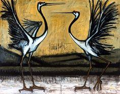 Bernard Buffet - Les grues d'Hokkaido : deux oiseaux combattants - 1981