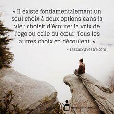 « Il existe fondamentalement un seul choix à deux options dans la vie : choisir d'écouter la voix de l'ego ou celle du cœur. Tous les autres choix en découlent. » - PascalSylvestre.com