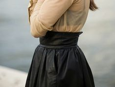 brown dress with white dots Leather A Line Skirt, Black Leather Skirts, High Skirts, Cute Skirts, Blouse Dress, Sheer Blouse, Vogue, Brown Dress, Passion For Fashion