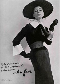 1952 Anne Gunning in afternoon dress by Jacques Fath, photo by Philippe Pottier
