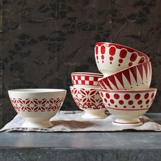 PATCH NYC - TABLETOP & KITCHEN - RED BOWL SET {4223}