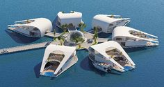 Considering the limited land space and massive water body surrounding Qatar, the country stands to benefit greatly from using its waterfronts for the Futuristic City, Futuristic Architecture, Amazing Architecture, Architecture Design, Floating Architecture, Floating Hotel, Villa Plan, Water Villa, Luxury Homes Dream Houses