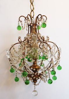Décor de Provence: The Perfect Vintage Chandelier Italian Chandelier, Antique Chandelier, Chandelier Lighting, Crystal Chandeliers, French Chandelier, Beaded Chandelier, Green Rooms, French Country Decorating, Decoration