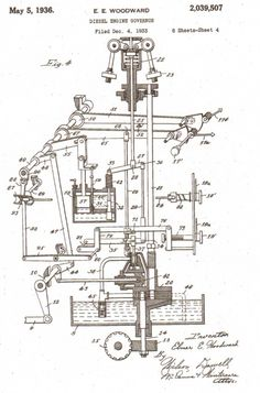 Elmer E. Woodward diesel engine governor patent, circa 1933.