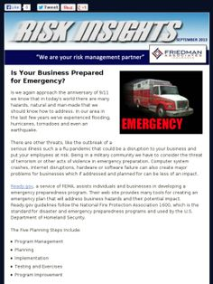September Construction Risk Insights - In this issue: Is Your Business Prepared for Emergency? Just For Fun - Construction Mishaps, Workplace Wellness Programs Have Many Benefits, Time is Running Out on ACA Notification