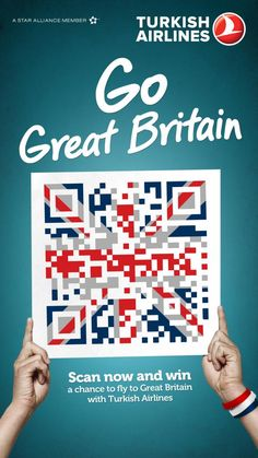 Turkish Airlines: QR Flags, Great Britain, Turkish Airlines, McCann Erickson, Turkey, Turkish Airlines, Print, Outdoor, Ads