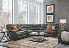 Galiano Gray 9 Pc Leather Power Reclining Sectional Living Room Set includes 6 Pc Power Reclining Sectional, Cocktail Table, End Table(s) & Lamp. Find affordable Reclining Living Rooms for your home that will complement the rest of your furniture. Furniture, Room, Family Room, Pub Table Sets, Living Room Sets Furniture, Grey Leather Sectional, Living Room Sectional, Sectional, Living Room Grey