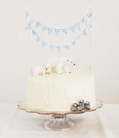 """yearslater: """" That's Happy: Christmas Cake Bunting """" Winter Birthday, Bear Birthday, Birthday Cake, Happy Birthday, Penguin Cakes, Bear Cakes, Cupcakes, Cupcake Cakes, Polar Bear Party"""