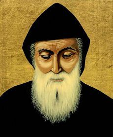 """July 23 - The Feast of Saint Sharbel """"On May 1828 in a mountain village of Beka'kafra, Sharbel was born to a poor Maronite family. Joseph, St Charbel, Christian Names, Catholic Priest, Eucharist, Religious Icons, Leopards, Painting On Wood, Mona Lisa"""