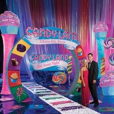 Create a sweet candy event with our Candy Land Kit that comes with a customizable arch, standees and floor decorations! Dance Themes, Prom Themes, Event Themes, Event Decor, Gala Themes, Quinceanera Themes, Candy Land Theme, Daddy Daughter Dance, Prom Decor