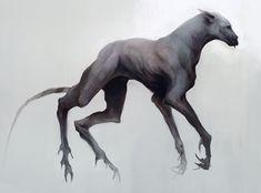 Demon hound by Ketunleipaa Dark Creatures, Humanoid Creatures, Mythical Creatures Art, Monster Concept Art, Fantasy Monster, Monster Art, Creature Concept Art, Creature Design, Arte Horror