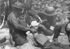 WWI, 1917; Pt Damron, US soldier, receiving treatment for head injuries. -http://net.lib.byu.edu/~rdh7/wwi/memoir/ambco/images/fig16.jpg