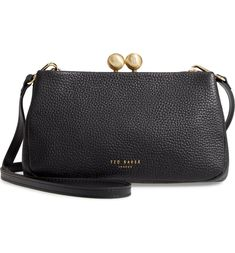 Free shipping and returns on Ted Baker London Chrina Leather Crossbody Bag at Nordstrom.com. A sparkling logo monogram accentuates the kiss-lock closure of a classic crossbody bag shaped from richly pebbled leather. Ted Baker Bag, Something Navy, Monogram Logo, Fashion Bags, Women's Fashion, Pebbled Leather, Leather Crossbody Bag, Purses And Bags, Nordstrom
