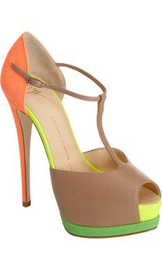Giueseppe Zanotti Fluorescent T-Strap Platform Sandal--