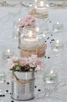 DIY - Small flower vases with cans! 20 ideas insp - flower ideas - DIY – Small flower vases with cans! 20 ideas insp DIY – Small flower vases with cans! Diy Wedding Decorations, Wedding Centerpieces, Pink Table Decorations, Centerpiece Ideas, Table Centerpieces, Vintage Decorations, Decor Wedding, Valentine Decorations, Rustic Wedding