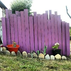 valla hecha con madera de palets/ fence wood palets.  Hmmmm..  I can see using wood palets to make a new garden gate and paint it this great color.