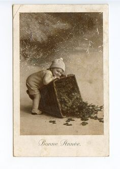 Switzerland 1920 Postcard Bonne Année Happy New Year Child Clover | eBay