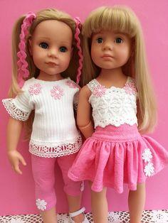 Gotz Girlies, Hannah & Katie Happy Kidz, in Salstuff cutsie pink & white daisy playset.