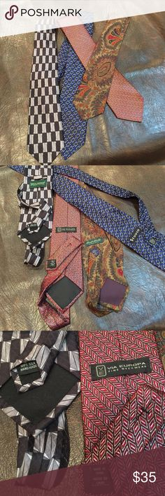 MENS TIES, BEAUTIFUL, MULTIPLES MENS TIES,  FOUR BEAUTIFUL TIES, 3 SILK, 1 POLYESTER. PREOWNED MINT CONDITION Accessories