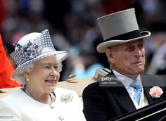 Queen Elizabeth II and Prince Philip, Duke of Edinburgh (R) arrive in the Royal carriage procession on the 5th day of Royal Ascot at Ascot Racecourse on June 19, 2010 in Ascot, England.