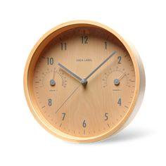 ウッド温湿時計 ナチュラル 5985yen 温度計&湿度計を備えた、美しい木目ボディの掛時計