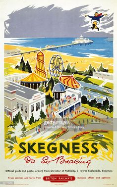 Poster produced for British Railways (BR) Eastern Region (ER), showing a view of the Embassy Ballroom and a funfair, at the Lincolnshire seaside resort of Skegness, with the beach and pier in the background. In the top right-hand corner is shown the famous 'Jolly Fisherman' character, taken from the original GNR poster of 1908 by John Hassall, also entitled 'Skegness is So Bracing'. The 'Jolly Fisherman' is still used to promote the resort today. Artwork by Kenneth Steel.