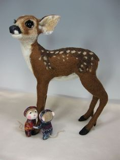 *NEEDLE FELTED ~ Mice Holly and Barry By Barby Anderson / Roe Deer By Helen Priem by feltedmice, via Flickr by haley