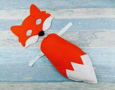 Fox Costume  Felt Fox Mask  Fox Tail  Mr Fox  Woodland