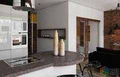 Кухня-гостиная планировка, стилистика лофт, вход в спальню