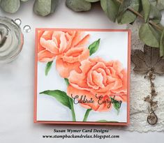 The Impression Obsession Summer Stamp Release Celebration starts today! Each day (April - ) you can find a list of participants . Impression Obsession Cards, Peach Peonies, Copic Sketch Markers, Getting A Puppy, Peach Colors, I Card, Paper Crafts, Card Designs, Floral
