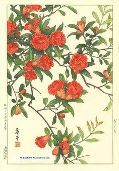 Nishimura Hodo Japanese Woodblock Print Red Azalea 1938