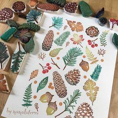 "235 Me gusta, 8 comentarios - Bymamalaterre (@bymamalaterre) en Instagram: ""Hello Autumn #stampart #rubberstamp #handprinted #handcarved #handcravedstamp #bymamalaterre…"""