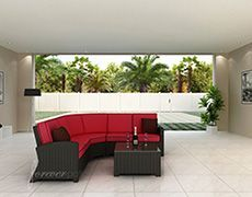 The 4 Piece Barbados Sectional Set by Forever Patio (FP-BAR-4SEC-EB) adds a large dose of modern beauty to any patio space, with quality construction for long-lasting looks. The set seats 5 adults comfortably, and includes a left arm loveseat, a right arm loveseat, a sectional corner and a coffee table with a glass top. This set features Ebony wicker with a flat-woven design, which accentuates the clean lines and contemporary style of the set. Every strand of this wicker is made from…