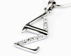 Delta Zeta Sterling Silver Lavaliere, set with Lab-Created Diamonds