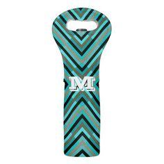 #monogram - #Modern Diagonal Checker Shades of Green Monogram Wine Bag