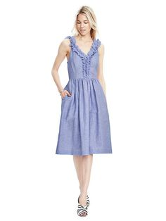 Looove this dress! Perfect length, the ruffles are so cute. and do I see pockets?!?! Banana Republic Ruffle-Neck Vee Dress