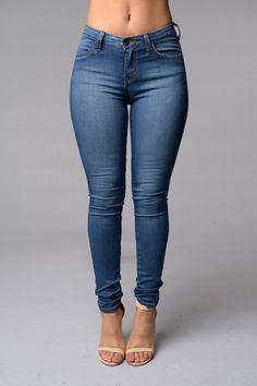 Classic Mid Rise Skinny Jeans - Medium Blue $34.99 #5PocketDesign #MidRise