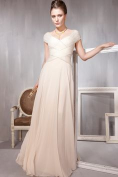 Light Pleated Simple Modest Satin Prom Dress/Evening Dresses [ALB56850] - US $155.9900