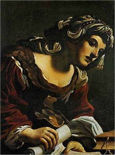 A SIBYL HOLDING A SCROLL ( STUDY OF A WOMAN, COMPLETED IN THE FORM OF A SIBYL). 1619.  oil on canvas. 72,7 × 61,7 cm. State of conservation : excellent. Provenance : 1882, Lanarkshire, Hamilton Palace, 12th Duke of Hamilton; CHRISTIE'S, London, 07 / 03 / 1952, lot 76, acquired by Sir Denis Mahon.