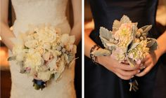 white roses and dusty miller wedding bouquets