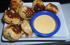 Ideal Protein Lemon Basil Cauliflower Fritters with Red Curry Dipping Sauce