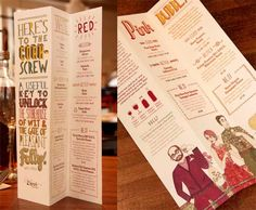 Zizzi Wine Menu focuses on the typography and witty words to make a memorable menu. Once the wine menu is spread out, the font is in different colors to differentiate the various wine selection.