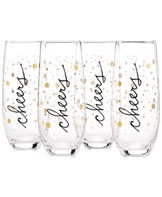 INC International Concepts Cheers Glass Stemless Flutes, Set of 4, Only at Macy's - INC International Concepts - Women - Macy's