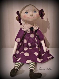 Art doll  cloth and clay  folk art  doll OOAK  by Joannabolton, $140.00