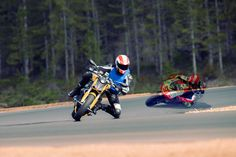 Quentin Wilson (on Ducati 848 Streetfighter motorcycle) riding with Marco Simoncelli's 'ghost'