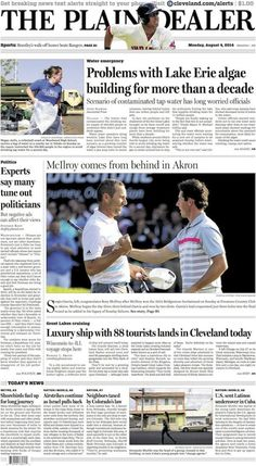 The Plain Dealer's front page for August 4, 2014 #Cleveland