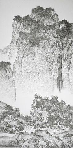 一見するとただの水墨画。しかし近寄ってみると驚くこと間違いないアーティスト・陳浚豪さんの作品